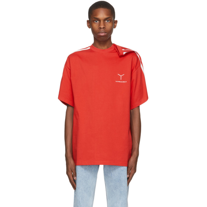 Y/project Y/PROJECT RED CLIP SHOULDER T-SHIRT