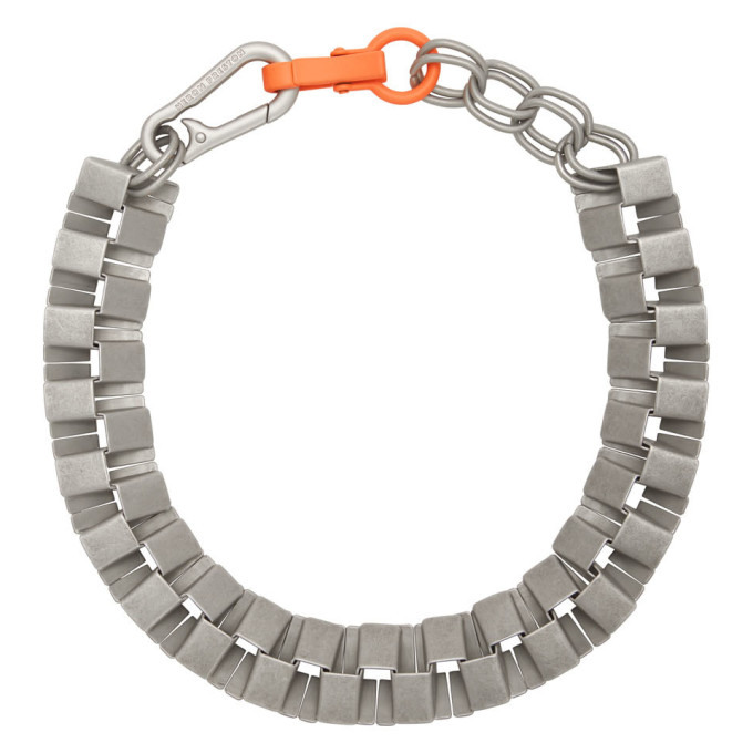 Heron Preston Silver Geometric Cubic Necklace In Silver Orange