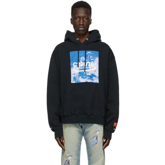 Heron Preston Herons Halo Hooded Cotton Sweatshirt In Black Blue