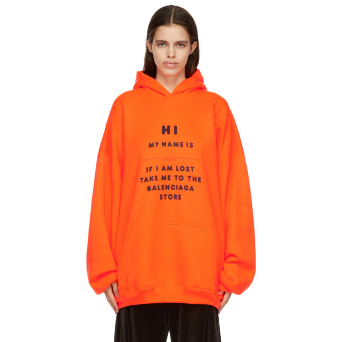 Balenciaga Unisex Orange Wide Fit Hi My Name Is Hoodie In 7513 Fluo O