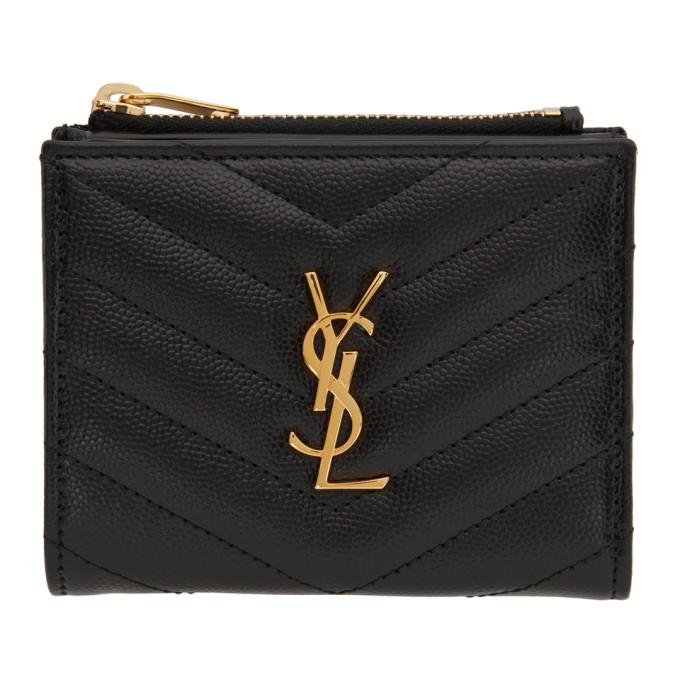 Saint Laurent Black Zipped Monogram Wallet In 1000 Black