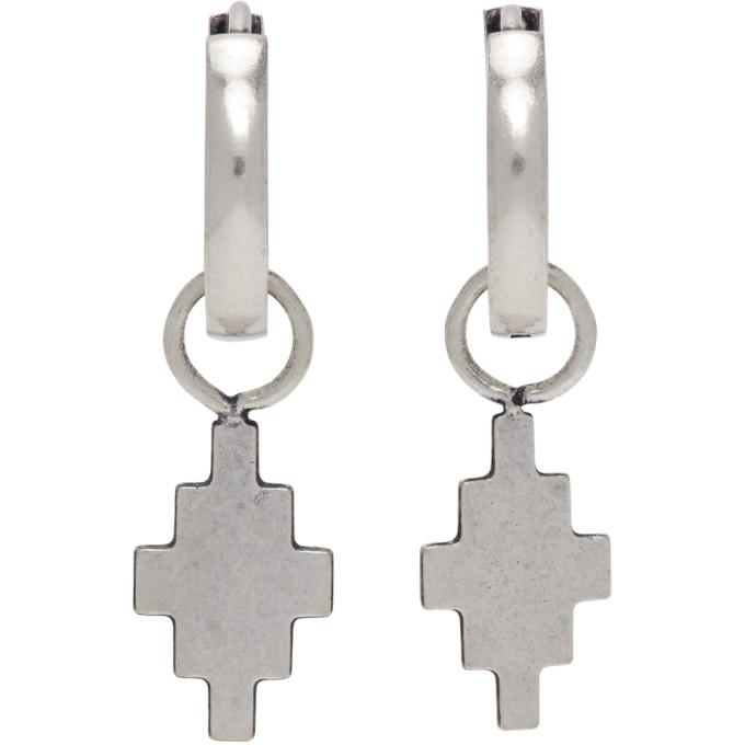 Marcelo Burlon County Of Milan Hoop Earrings With Cross Pendant In Silver