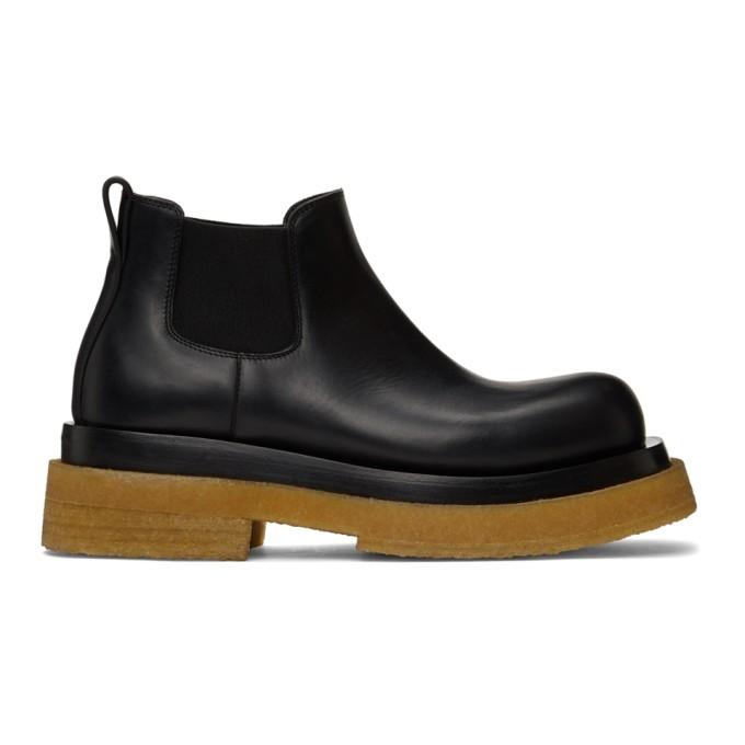 Bottega Veneta Black & Tan Crepe Sole Low Lug Chelsea Boots