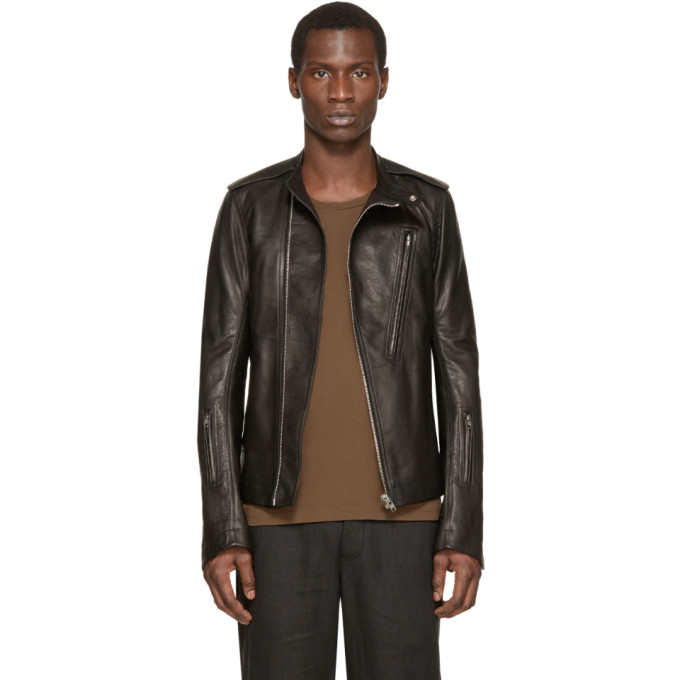 Rick Owens Black Leather Cyclops Biker Jacket
