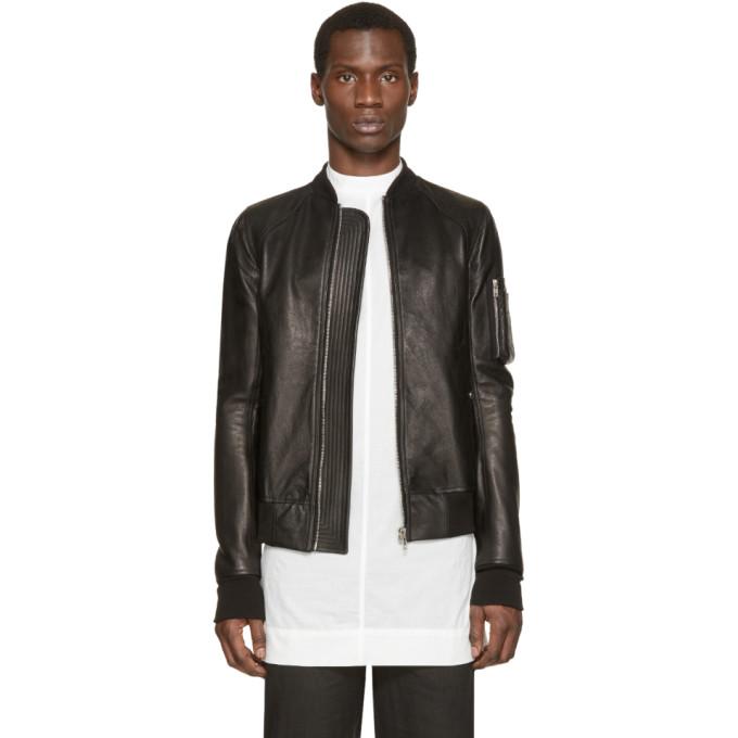 Rick Owens Black Leather Bomber Jacket