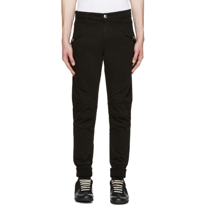 Image of Pierre Balmain Black Ribbed Cuff Biker Trousers