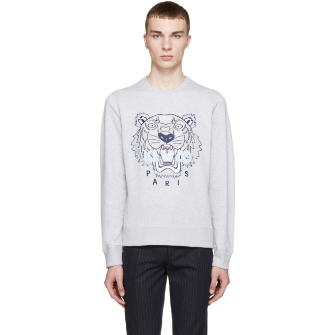 Kenzo SSENSE Exclusive Grey Tiger Logo Sweatshirt