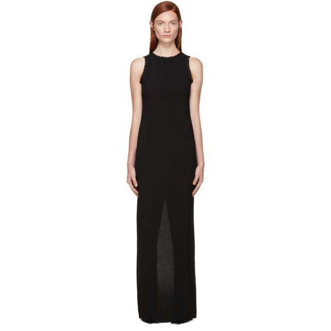 nina ricci female nina ricci black fringed crepe long dress
