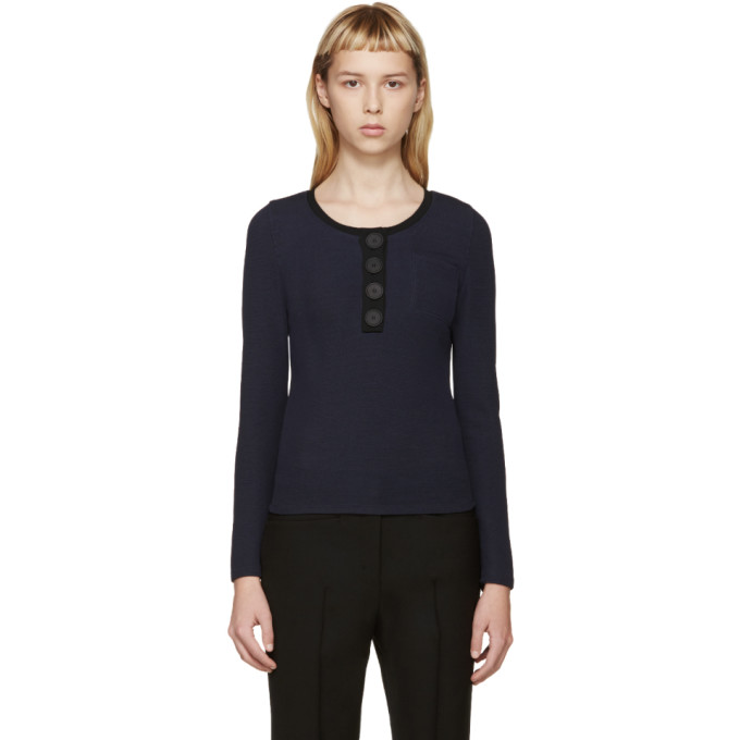 Image of Calvin Klein Collection Blue Ford Crewneck Top