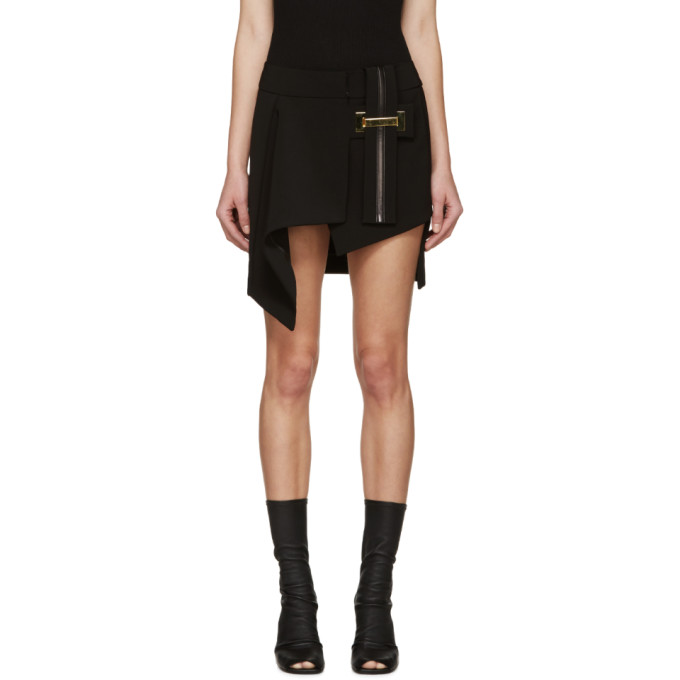 anthony vaccarello female anthony vaccarello black belted asymmetrical skirt