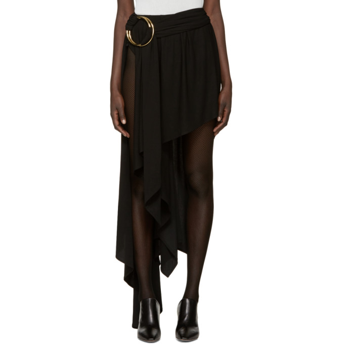Image of Anthony Vaccarello Black Asymmetric Double Hoop Skirt
