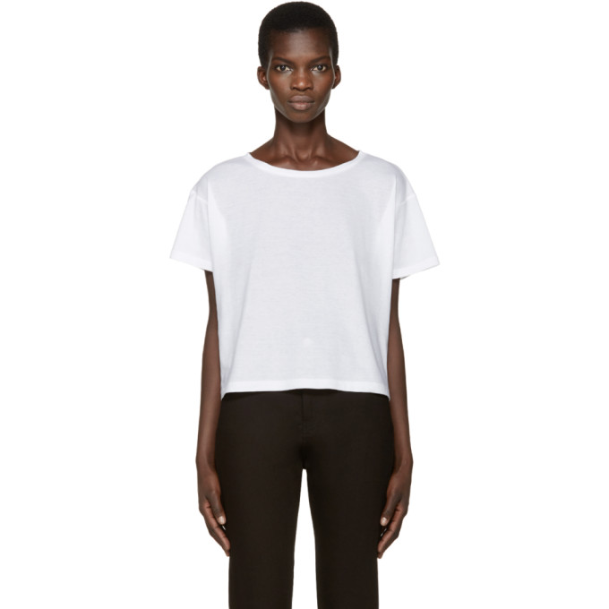 Image of Anthony Vaccarello White Boatneck T-Shirt