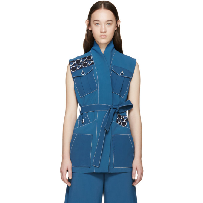 Image of Peter Pilotto Blue Embroidered Safari Vest