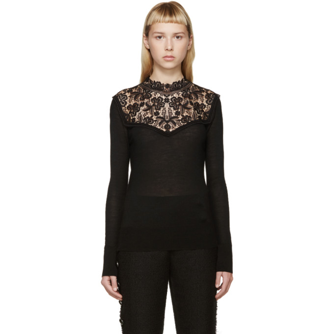 erdem female erdem black knit lace clem sweater