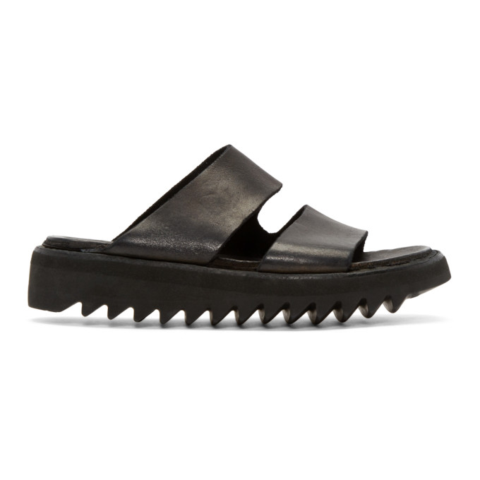 Image of Guidi Black Leather Double Strap Sandals
