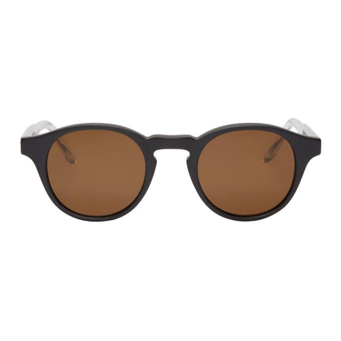 Image of Bottega Veneta Black Acetate Round Sunglasses