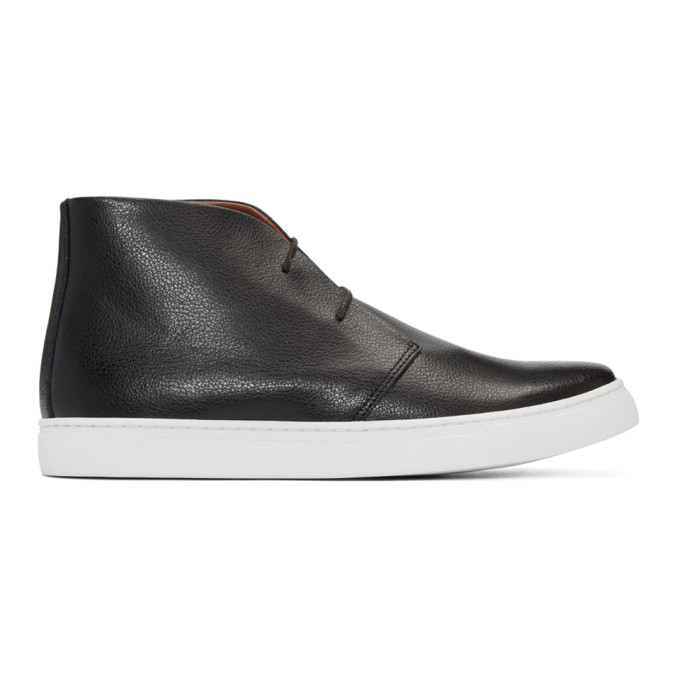 JUNYA WATANABE BLACK LEATHER HIGH-TOP SNEAKERS