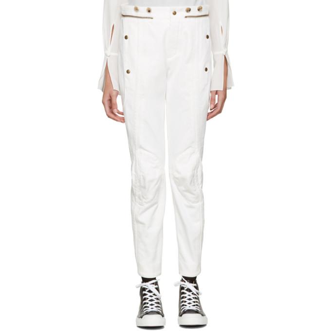 chloe female chloe white utilitarian biker jeans