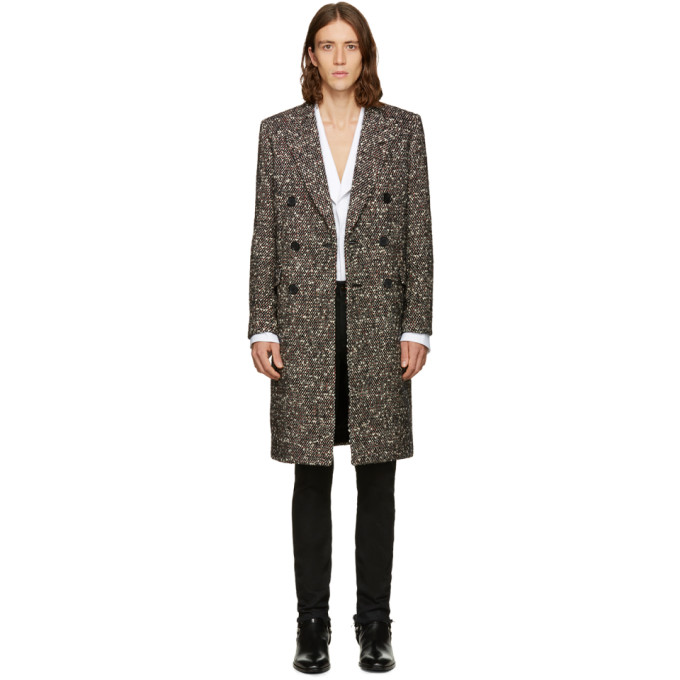 Image of Saint Laurent Tricolor Double-Breasted Wool Coat