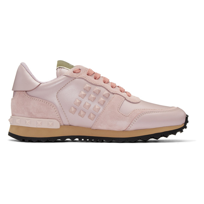 VALENTINO | Valentino Pink Valentino Garavani Rockstud Sneakers | Goxip