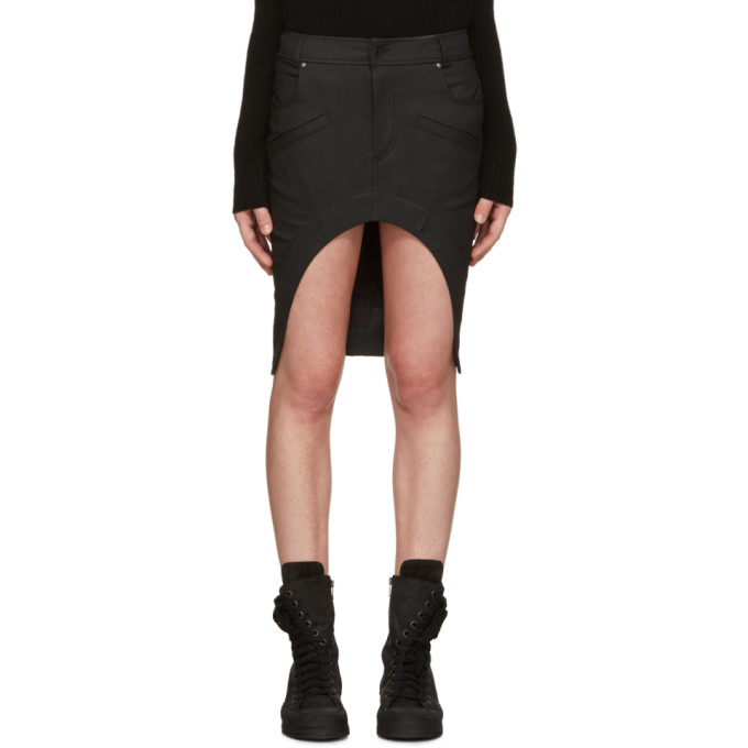 Image of Haider Ackermann Black Asymmetric Denim Miniskirt