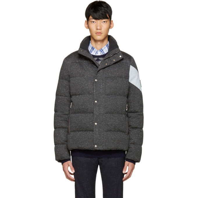 Image of Moncler Gamme Bleu Grey Quilted Down Jacket