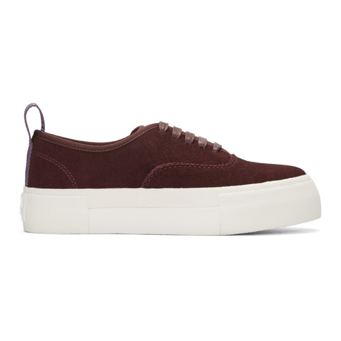 Image of Eytys Burgundy Suede Mother Sneakers