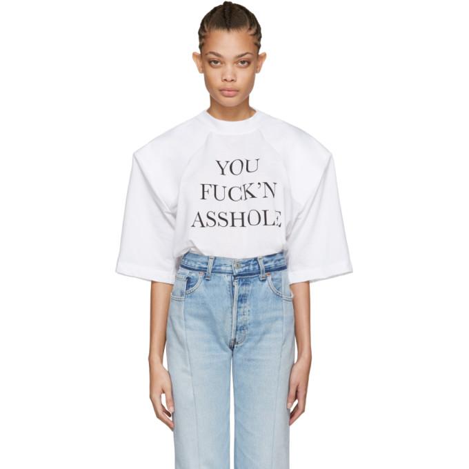 VETEMENTS White 'You Fuck'n Asshole' Football Shoulder T-Shirt