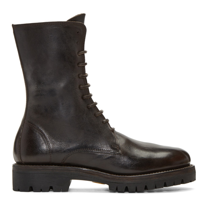 Image of Guidi Brown Leather Lace-Up Boots