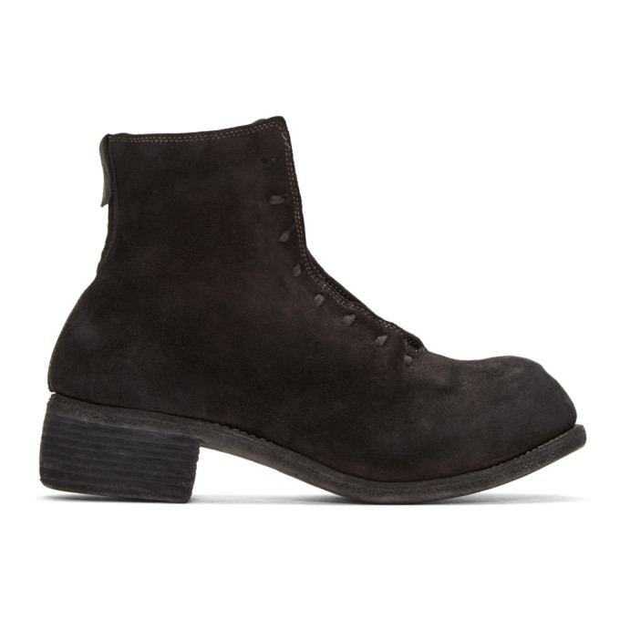 Image of Guidi Black Suede Lace-Up Boots