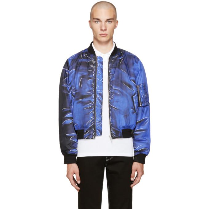 Image of Moschino Blue Drawing Bomber Jacket