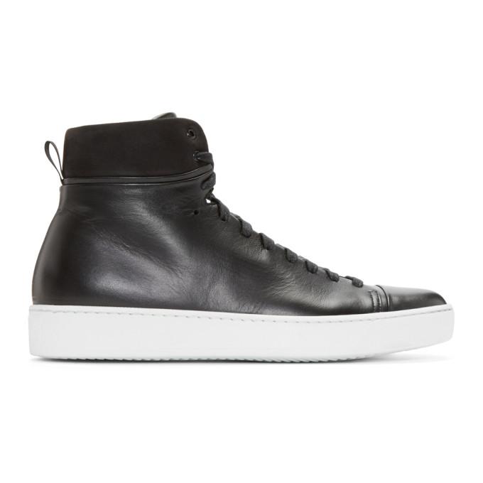 Image of John Elliott Black Leather High-Top Sneakers
