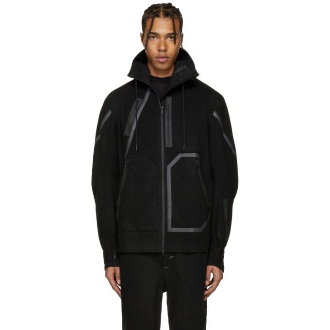Image of Y-3 SPORT Black Wool Hooded Jacket