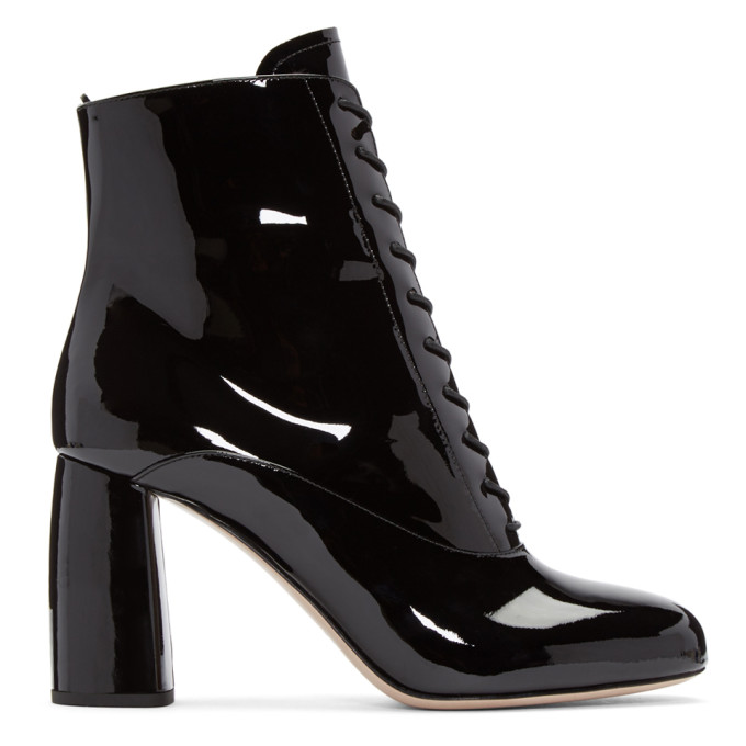 miu miu female miu miu black patent ankle boots