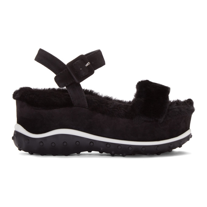 miu miu female miu miu black shearling wedge sandals