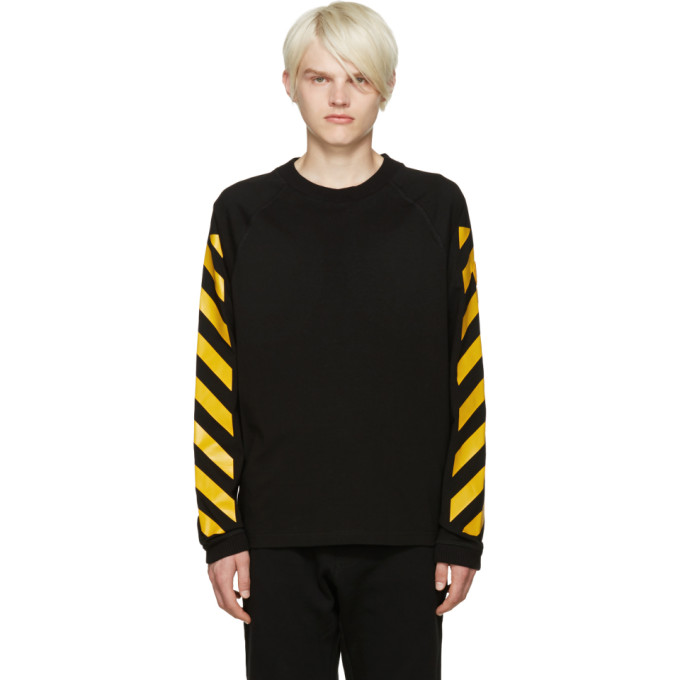 Image of Moncler O Black Striped Sleeves T-Shirt