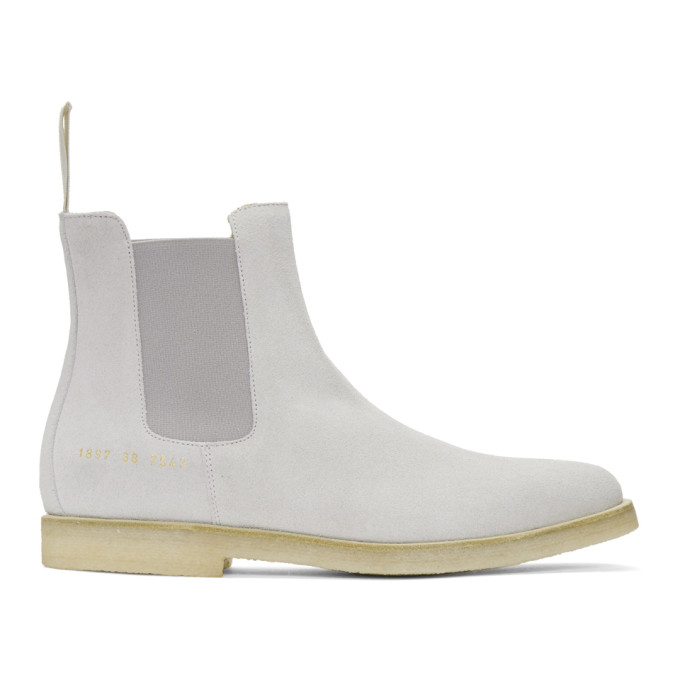 Image of Common Projects Grey Suede Chelsea Boots
