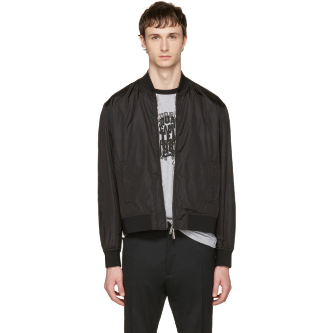 Dsquared2 Black Nylon Bomber Jacket