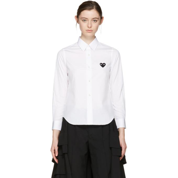 Comme des Garçons Play White Heart Patch Shirt