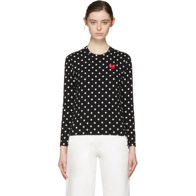Comme des Garçons Play Black Polka Dot Heart Patch T-Shirt