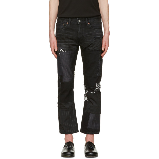Image of Junya Watanabe Black Multi Fabric Patch Jeans