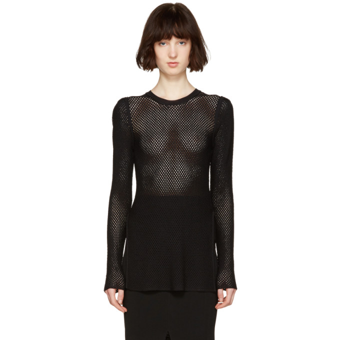 Image of Proenza Schouler Black Open Knit Pullover