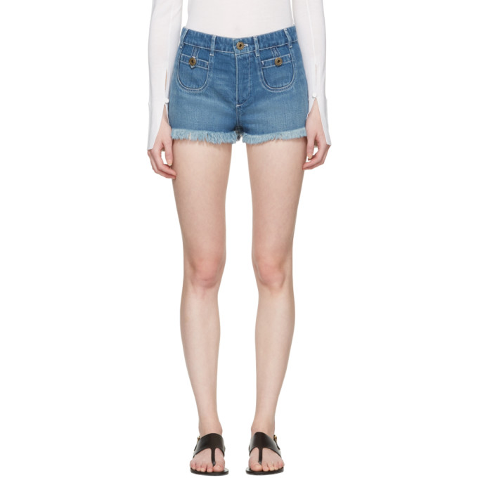 CHLOÉ CHLOE BLUE DENIM CUT-OFF SHORTS