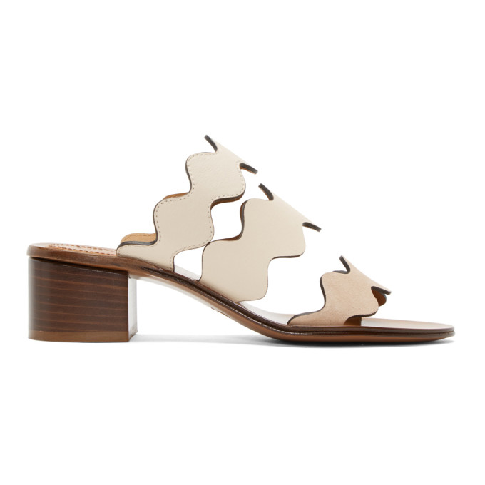 CHLOÉ CHLOE IVORY AND BEIGE LAUREN HEELED SANDALS