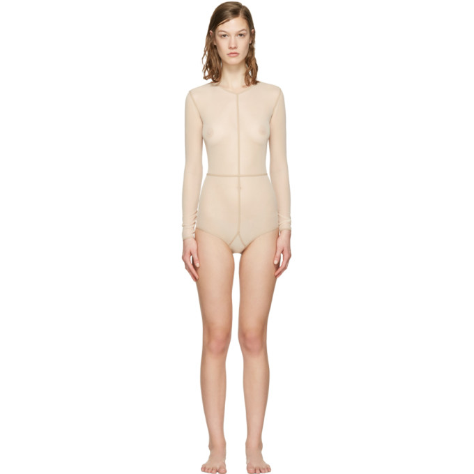 Image of Ann Demeulemeester Beige la fille d'O Tulle Bodysuit