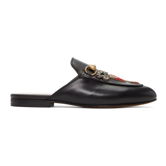 Gucci Black Tiger & Pierced Heart Princetown Slippers