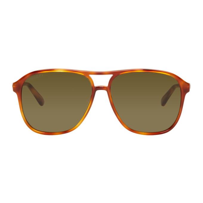 d8a7c1724920 Gucci Tortoiseshell Retro Aviator Sunglasses