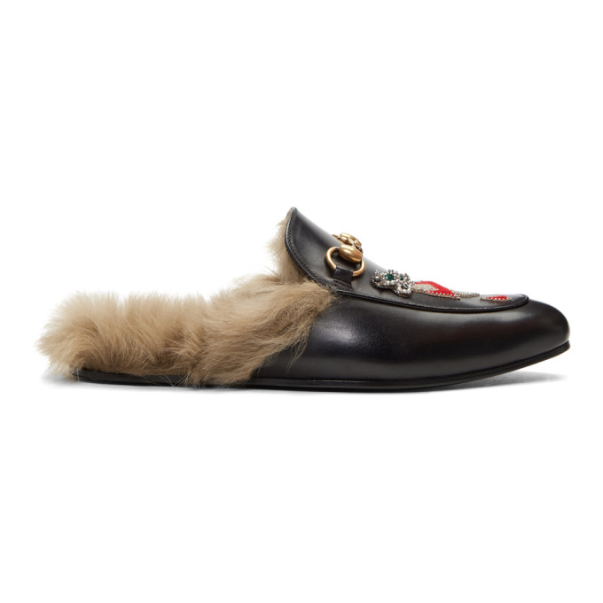Gucci Black Lion & Pierced Heart Princetown Slip-On Loafers