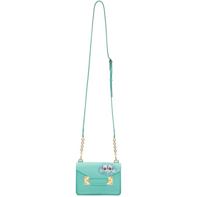 Sophie Hulme Blue Glitter Cloud Nano Milner Crossbody Bag