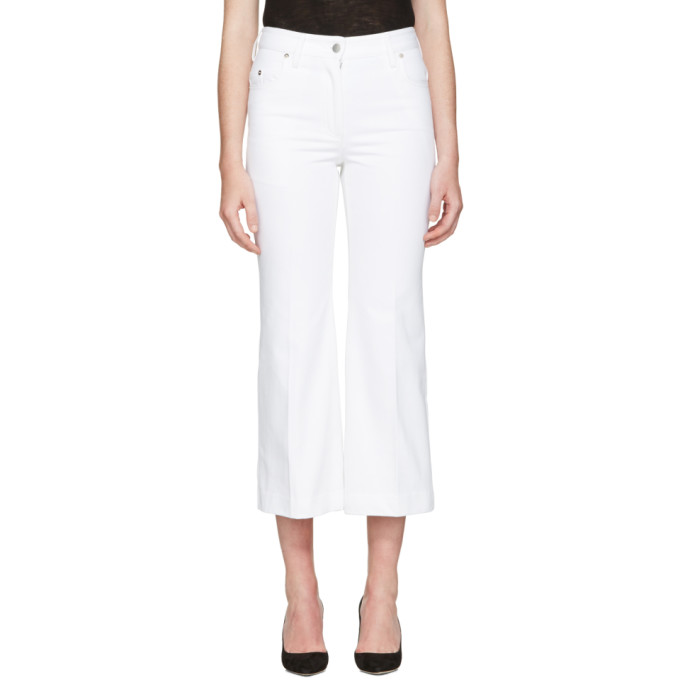 Image of Calvin Klein Collection White Fray Bis Jeans